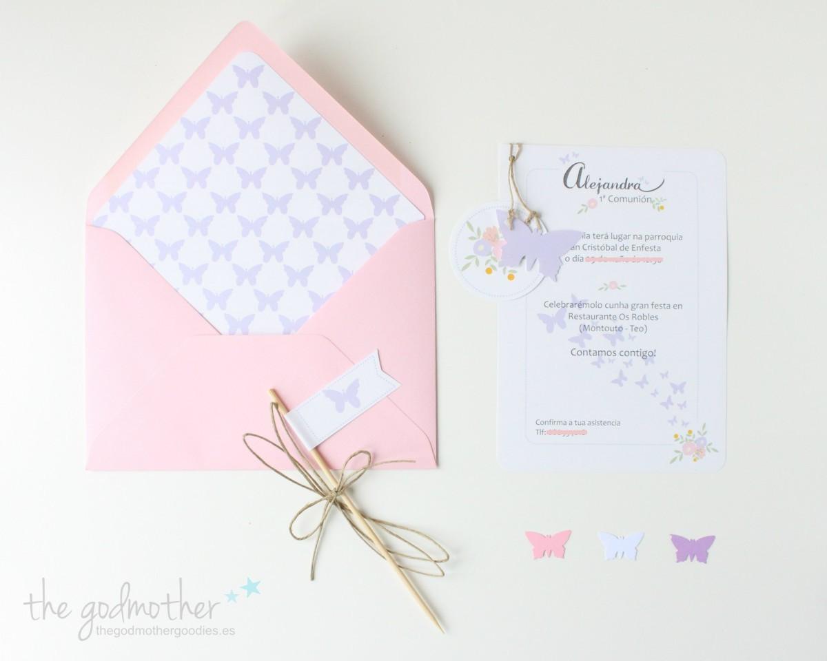invitación comunión- invitación bautizo- invitación boda- invitación personalizada - invitación mariposas 3